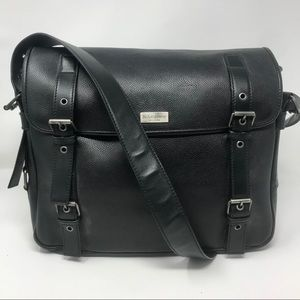 YSL Unisex Black Besace Leather Messenger Bag